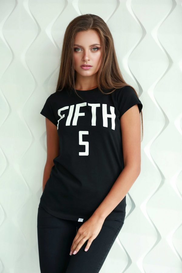 black t-shirt for ladies with short sleeve with white print in cotton