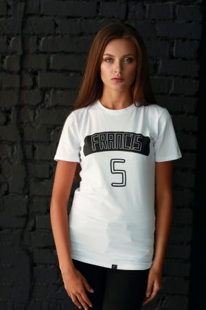 white t-shirt for ladies short sleeve with black print in cotton