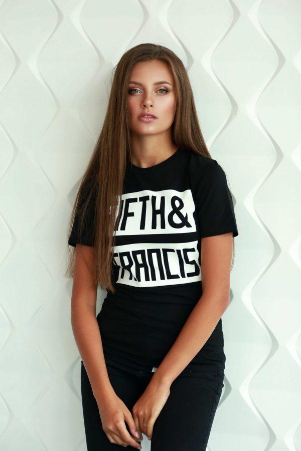 zwart t-shirt voor dames met korte mouw met witte print van katoen