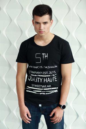 zwart t-shirt voor heren met korte mouw met witte print van katoen